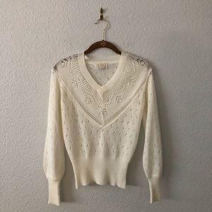 Vintage White Cream Delicate Knit V-Neck Cottage